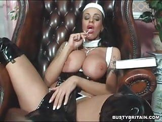 Nun victoria brown bonks her vagina booty with a cross