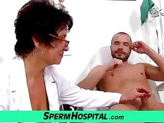 Milf-boy cook jerking feat. large meatballs lady doctor greta