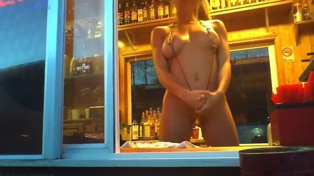 Cutie flashing bikini caffee baristas