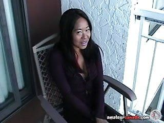 Oriental mame flashing giant mambos on a balcony in canada