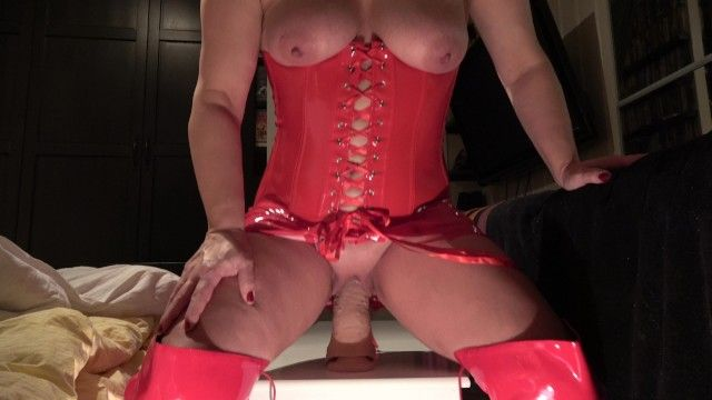 Large sex-toy riding milf with large mounds squirt