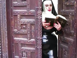 Breasty latex nun